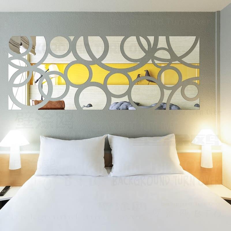 DIY moda yaradıcı dairə halqa TV fon 3d güzgü dekorativ divar - Ev dekoru - Fotoqrafiya 2