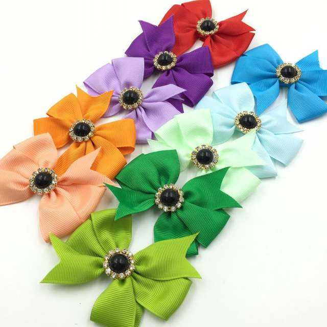 "30pcs 3/"" Handmade Grosgrain Bows+Crown Buttons Ribbon Boutique Hair Bows NO Clip"