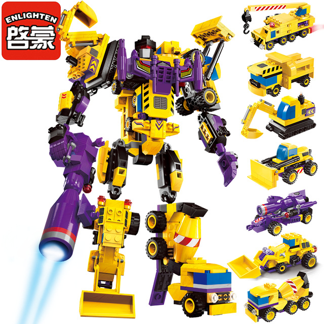 599Pcs ENLIGHTEN 1401 7 in 1 The Creator God Robot Figure Blocks Compatible Legoe Construction Building Toys For Children