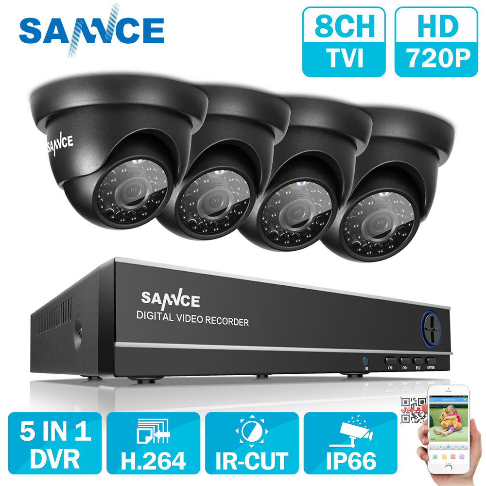 SANNCE 8CH 1080N TVI H.264+ 8CH DVR 720P Outdoor Dome CCTV Video Home Security Camera System Surveillance Kits zosi 8ch 1080n tvi h 264 1tb 8ch dvr 8 720p outdoor bullet dome cctv video home security camera system surveillance kits