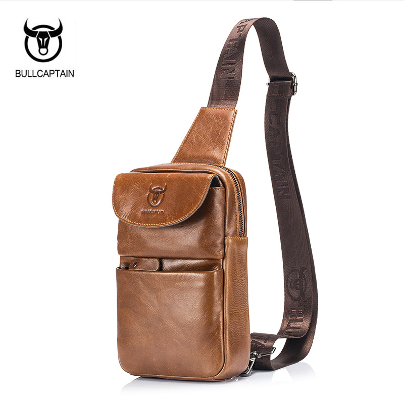 BULLCAPTAIN 2017 Brand Genuine Leather Men Chest Bag Fashion Crossbody Bags For Men Small Causal Shoulder Bag Message Bags XB098 bull captain2017 fashion genuine leather crossbody bags men small brand music messenger bags male shoulder bag chest bag for men