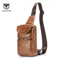 BULLCAPTAIN 2017 Brand Genuine Leather Men Chest Bag Fashion Crossbody Bags For Men Small Causal Shoulder