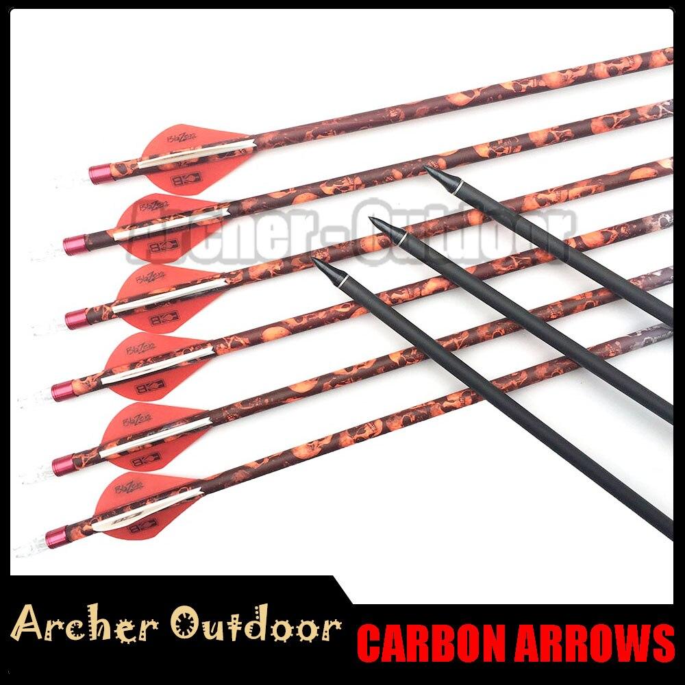 12Pcs Linkboy Archery Spine 500 32 Camo Skull Carbon Arrow With Ring Nock 2INCH Plastic Vane