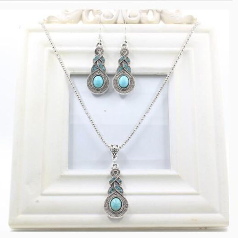 Fashion retro t necklace female inlaid crystal gourd set necklace earrings set of accessories