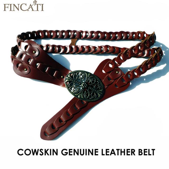 2017 Novas Mulheres Do Vintage Cinto de Couro Genuíno Cowskin Handmade Curvo Buckle Belts Para As Mulheres Acessórios cinto feminino