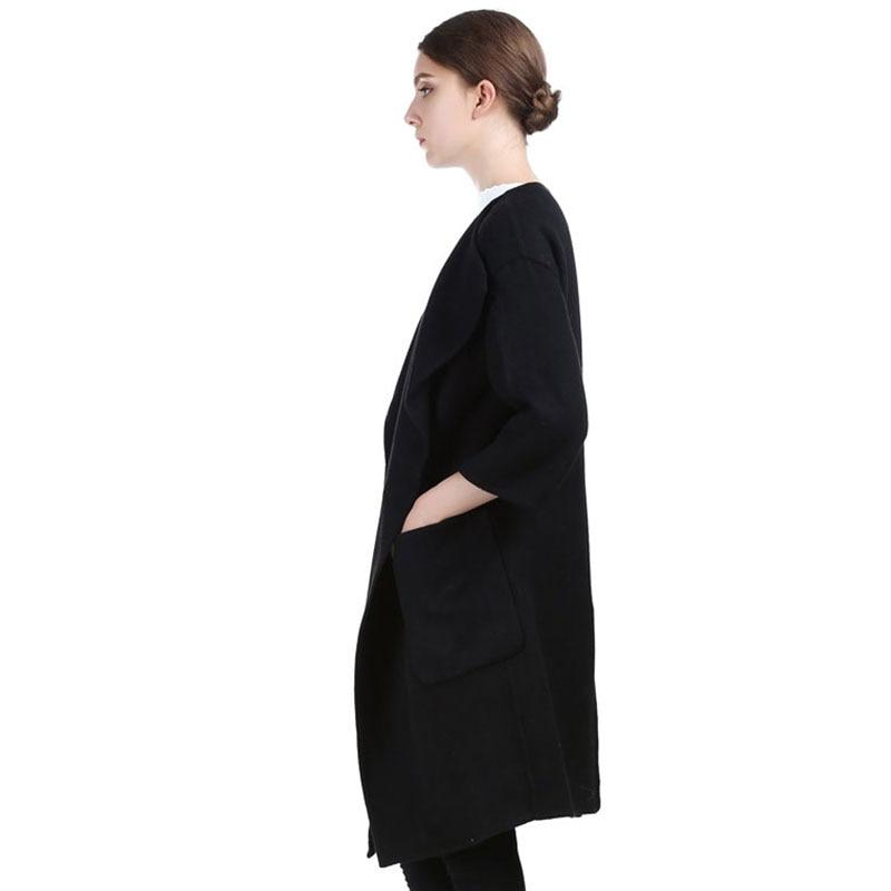 Vintage Qadın Qara Uzun Cashmere Palto 2017 Yeni Yun Palto Qadın - Qadın geyimi - Fotoqrafiya 3