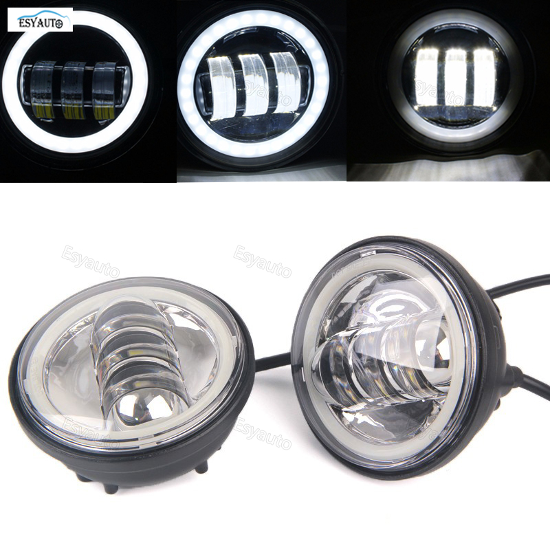 4.5 inch 4 in. Daymaker Projector LED Auxiliary Lamps 30W Fog Light Black Fog Lamp for harley Davidson Softail Dyna Sportster 4pcs set 7 daymaker projector led headlamp 4 5inch auxiliary motorcycle led fog light for harley touring softail trike flhtcuse