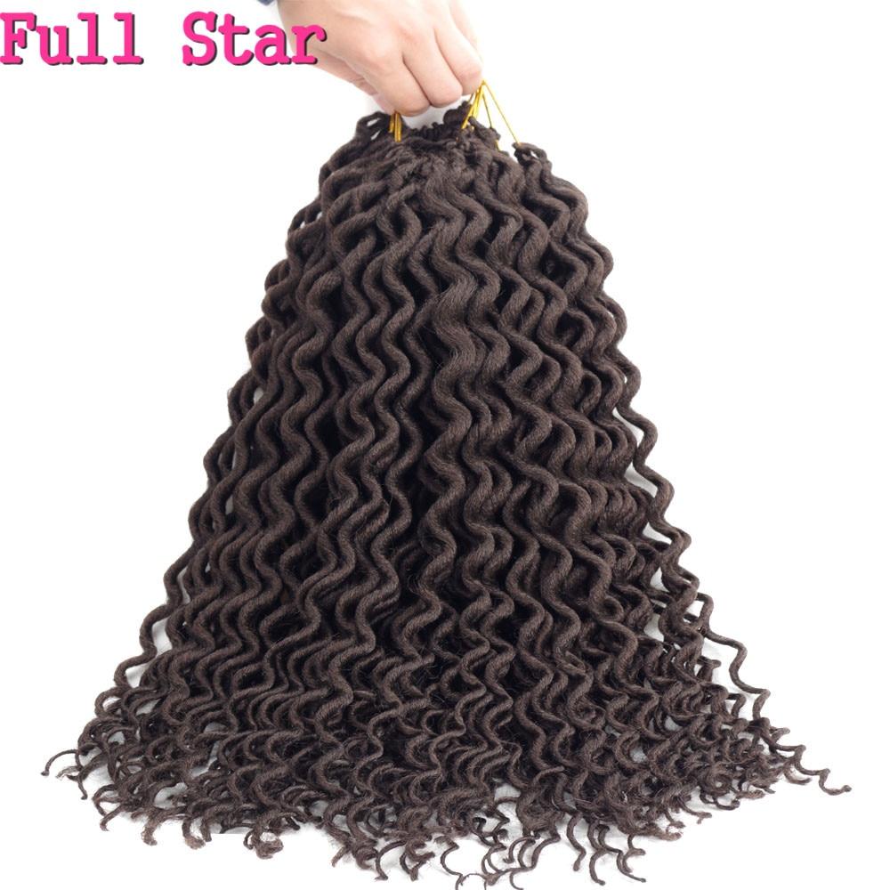 """Полный Звезда 1"""" Faux locs Curly заканчивается 24 корни вязанная косами чёрный; коричневый Цвет химическое плетение волос для Для женщин"""