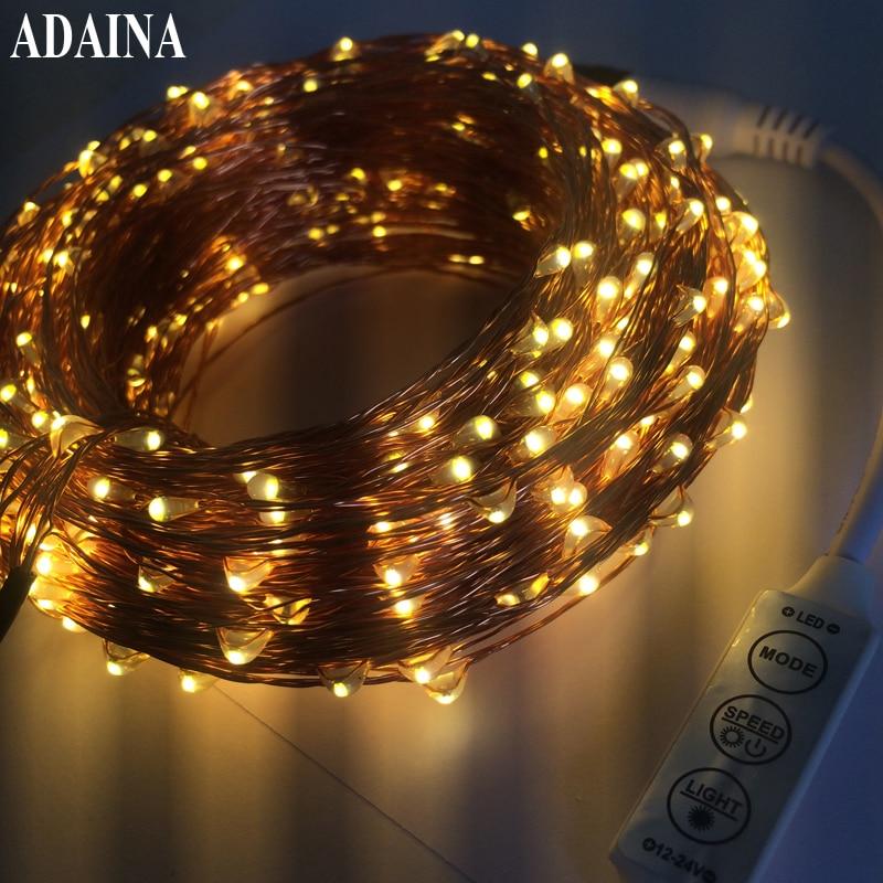 Távoli Dimmer 50M 500 LED-es lámpák Rézhuzal-húr könnyű kültéri tündérlámpa kert esküvői karácsonyi díszek otthoni használatra