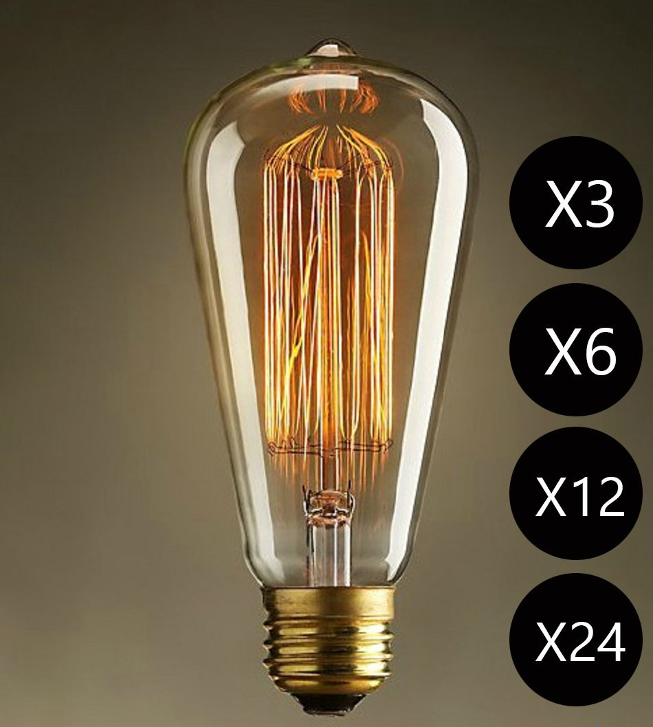 Lightinbox 1/3/6/12/24 PACK Vintage Light Bulb Filament E27 Edison Style - Squirrel Cage