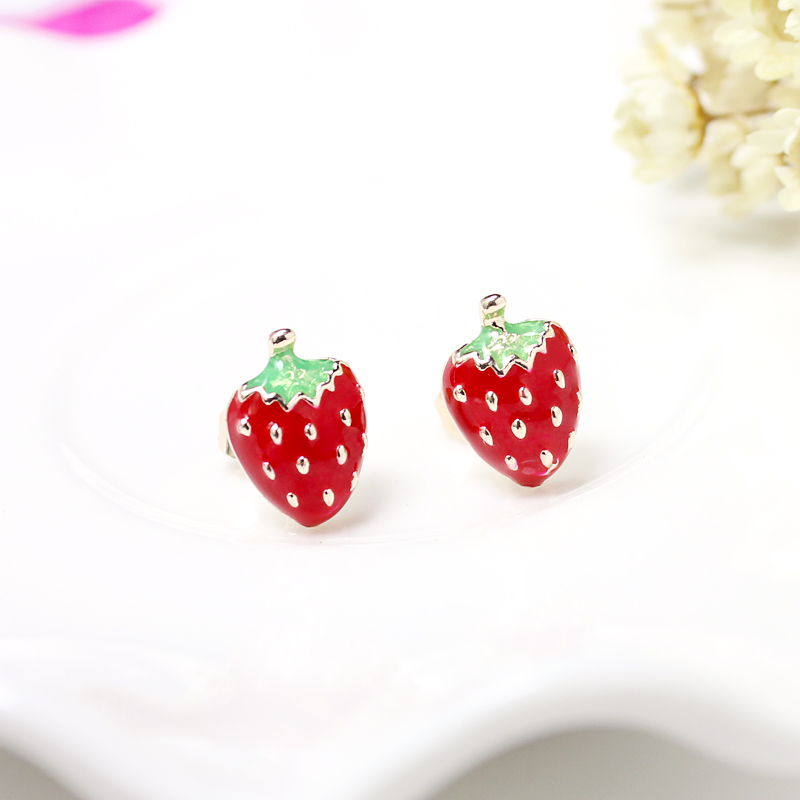 stud jewelry pink post kawaii products original fruit strawberry handmade earring earrings hypoallergenic collections