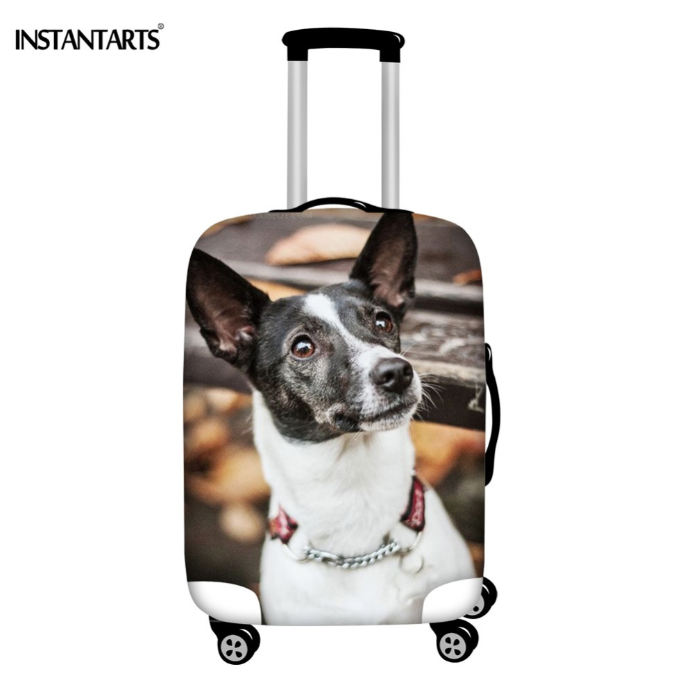 INSTANTARTS Rat Terrier 3D Dog Animal Printing Travel Suitcase Protector Cover Zipper Thick Spandex Luggage Case Covers Brand