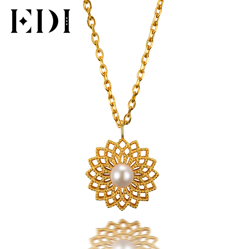 EDI Genuine 5mm Natural Freshwater Pearls 925 Sterling Silver Flower Pendant For Women Necklace Chain Pearl Fine Jewelry fine jewelry sets 925 sterling silver natural freshwater pearls for women heart shaped white pendant necklace earrings 8 9mm