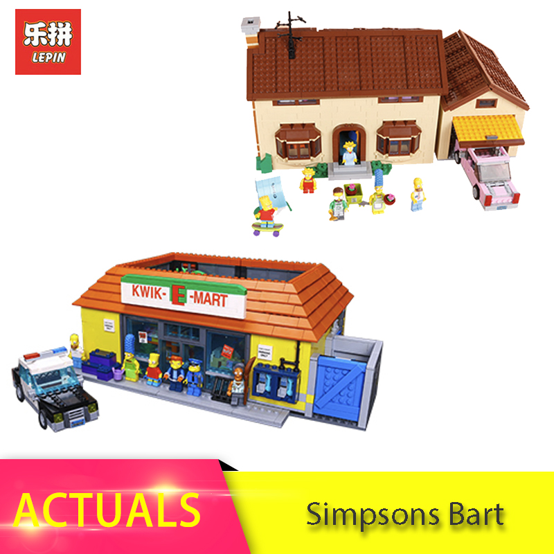 LEPIN 16004 16005 316pcs  Simpsons Bart Homer the Kwik-E-Mart Model Building Blocks Bricks Toys for children Christmas 71016