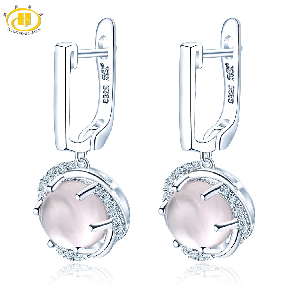 Hutang glace Rose Quartz pince boucles d'oreilles solide 925 en argent Sterling naturel haute qualité pierres précieuses Fine élégante bijoux pour cadeau nouveau