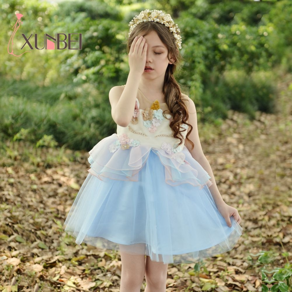 Princess Pink Blue Unicorn   Flower     Girl     Dresses   2019 Beaded Applique Fancy   Girls   Pageant   Dress   Costume   Dresses   For Kids