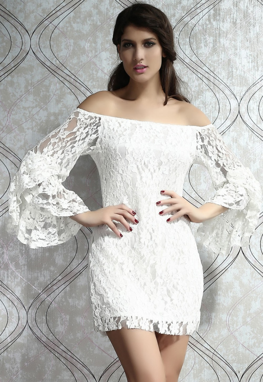 Cream Lace Dress With Sleeves Plus Size – DACC