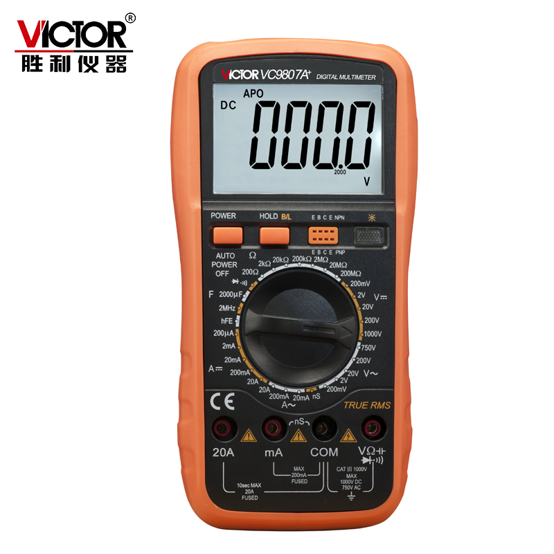 Victor VC9807A + 4 1/2 Multimètre Numérique multimetro AC DC Ampèremètre Voltmètre Ohmmètre conductivité Capacité Fréquence testeur