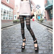 High-end Fashion Punk Black Rose Patchwork Hollow Out Faux Leather Gothic Women Bandage Lace Sexy Party Pencil Leggings