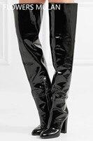 Зимние женские Сапоги выше колена из лакированной кожи черного цвета, женские сапоги на высоком каблуке с молнией, женские сапоги для дождл