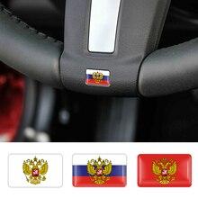 4Pcs Car styling 3D Russian National Emblem Decorative Badge Sticker fit for lada OPEL Skoda Kia Flag Accessories
