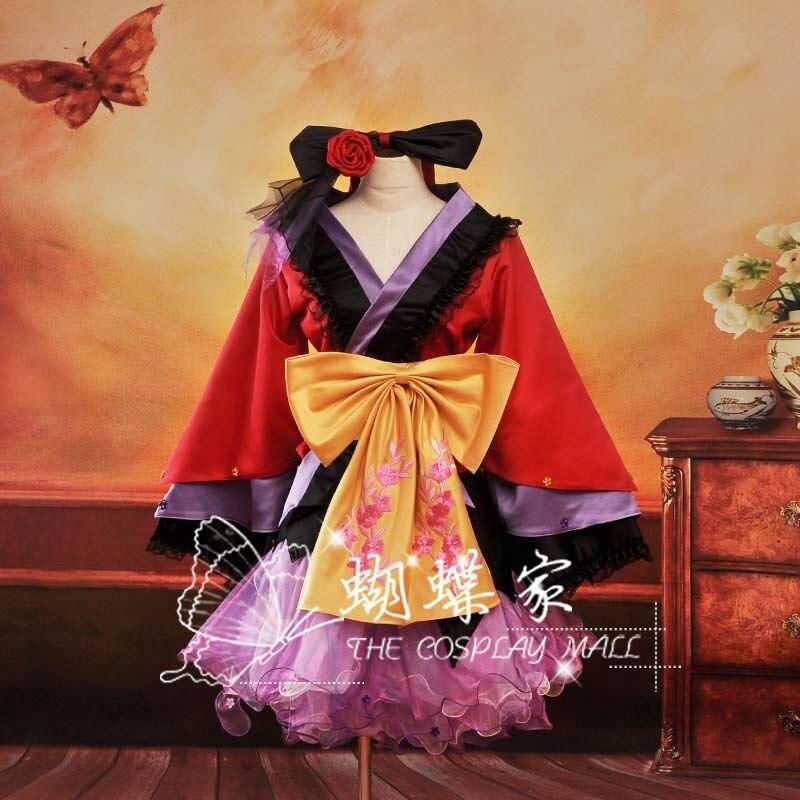 Hot Sale! Free Shipping Vocaloid Project Diva Geisha Luka Cosplay Costume Kimono Lolita Clothing
