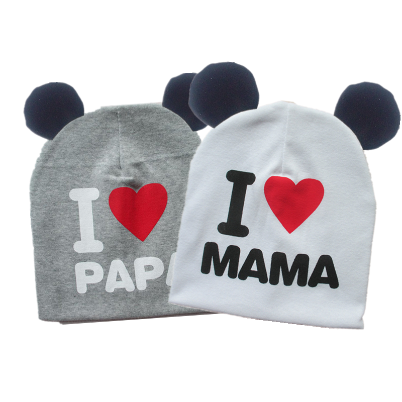 Brand Baby Earflap Cap Girl Hat Cap Sweet Heart I Love Mama Papa Cotton Beanie For Girls Boys With Ear Bonnet 6 Months-3 Years