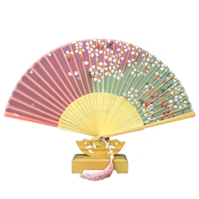 ShaoFu Summer Lady Pocket Fan Chinese Traditional Gifts Silk Bamboo Ethnic Crafts Folding Wedding Exquisite Gift