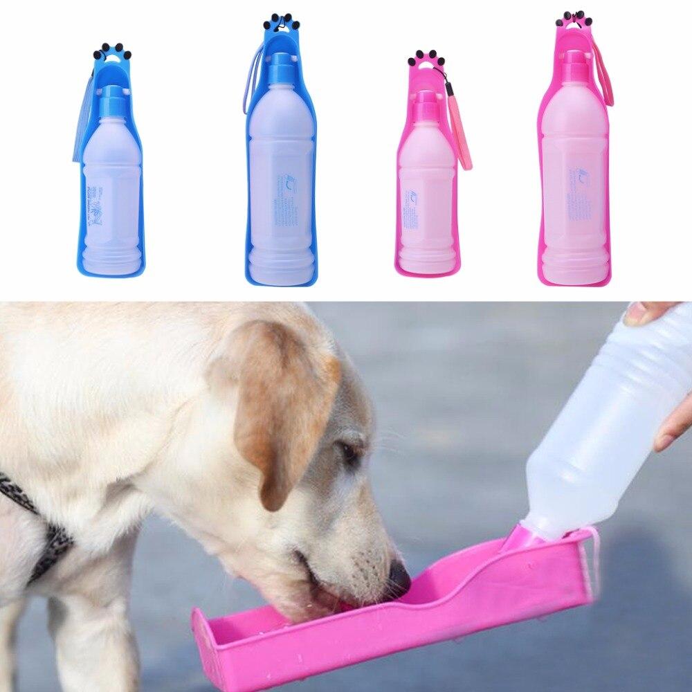 350ml Portable Pet Dog Water Bottle Travel Dog Bowl Cups: 350ml/600ml Portable Pet Dog Cat Travel Water Bowl Bottle