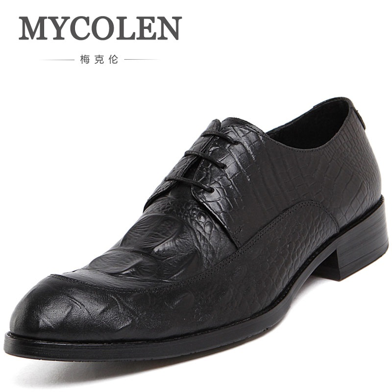MYCOLEN NEW Crocodile Skin High Quality Men Shoes Genuine Leather Party Dress Wedding Luxury Designer Formal Business Shoes mycolen 2018 high quality business dress men shoes luxury designer crocodile pattern formal classic office wedding oxfords