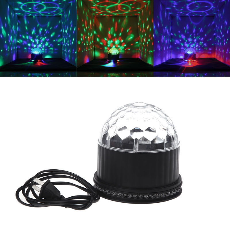 Proffessional Evening Party Stage Lighting Sound-activated Rotating Lamp LED RGB Crystal Magic Ball Effect Light Disco DJ new d19 sound activated 5w 48 led rgb crystal magic sunflower light white
