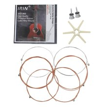 8X IRIN Folk Acoustic Guitar 3 in 1 Accessories Parts Set of Strings/6pcs Nail Pins/2pcs Strap Lock Pins Screws Pegs