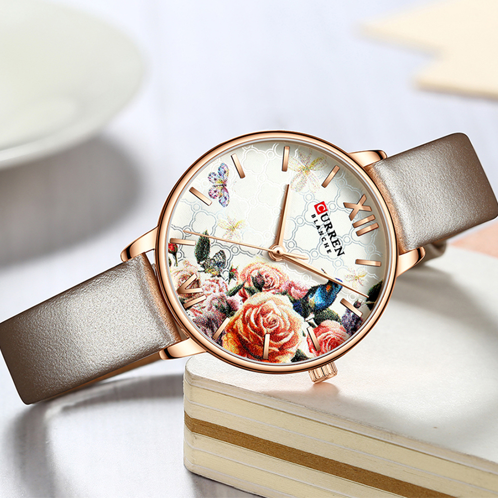 CURREN Beautiful Flower Design Watches Women Fashion Casual Leather Wristwatch Ladies Watch Female Clock Women's Quartz Watch