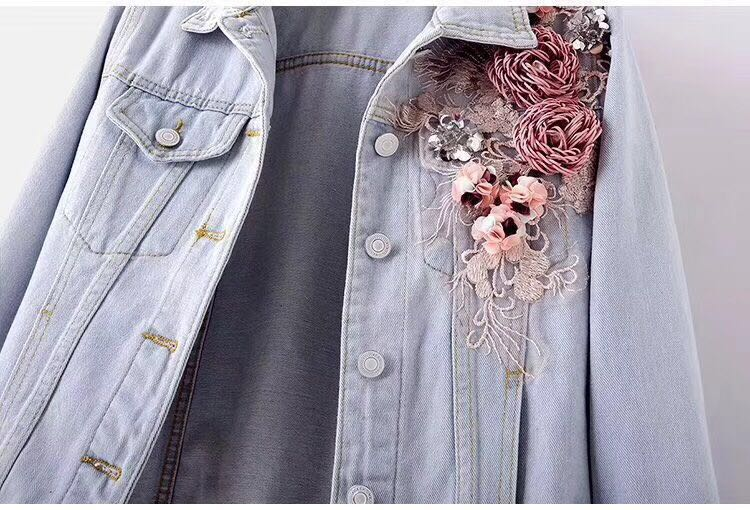 HTB1PfR7PbrpK1RjSZTEq6AWAVXaL 2019 Autumn Women Embroidery Three Dimensional Flowers Pearl Bead Short Denim Coat Woman Long Sleeve Jean Jacket xintiandi