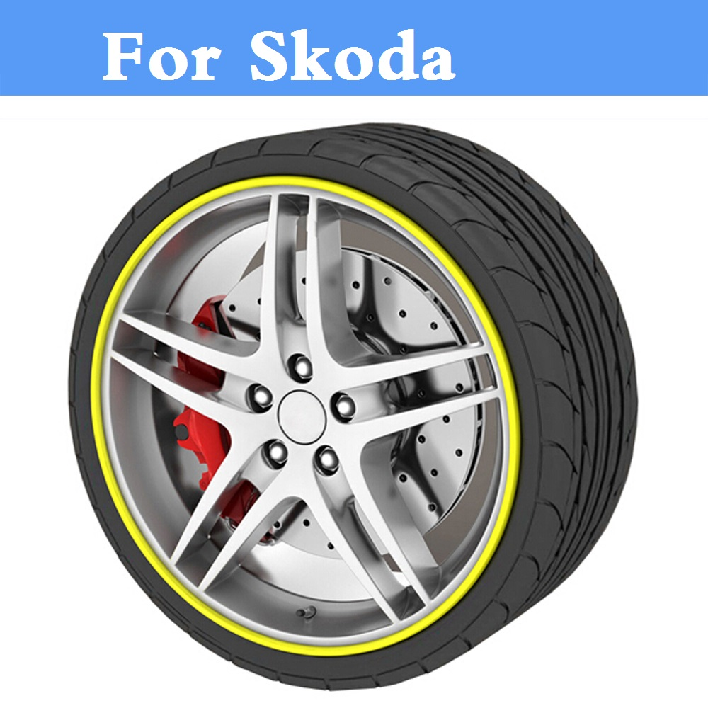 8M Car styling Tire Tyre Rim care Hub Wheel Stickers strip for Skoda Citigo Fabia RS Octavia Octavia RS Rapid Superb Yeti