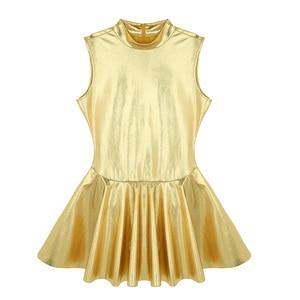 Image 3 - Women Cheerleader Costume Cheerleading Ballet Dress Shiny Metallic Faux Leather Dress Stand Collar Back Zippered A line Dress