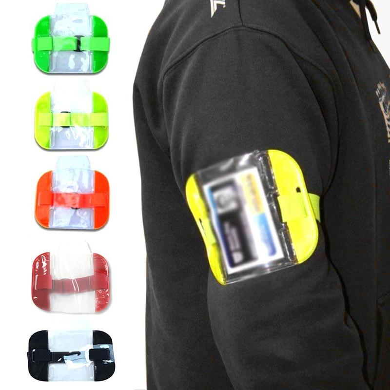 New Adjustable Elastic Strap Card Holder Hot Elastic Arm Band ID Badge Holder Photo Armband Credit Card Case PVC ID Pouch