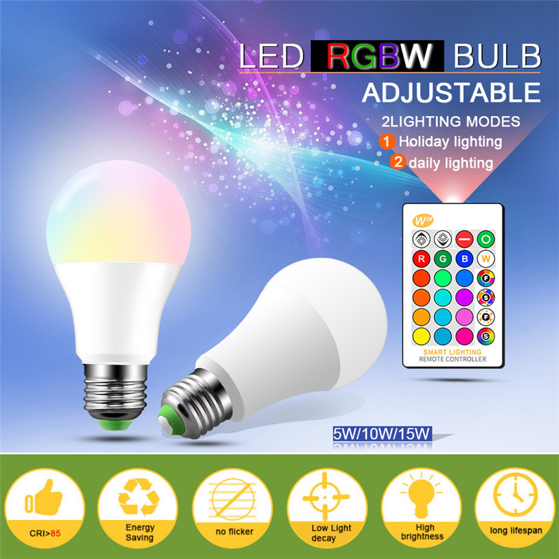 E27 RGB LED Bulb Night Light 5W 10W 15W RGB Lampada  Color Changing Led Light Bulb With IR Remote Control+Memory Mode Lights