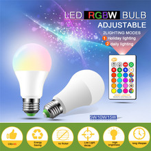 E27 RGB LED Bulb Night Light 5W 10W 15W Lampada  Color Changing Led With IR Remote Control+Memory Mode Lights