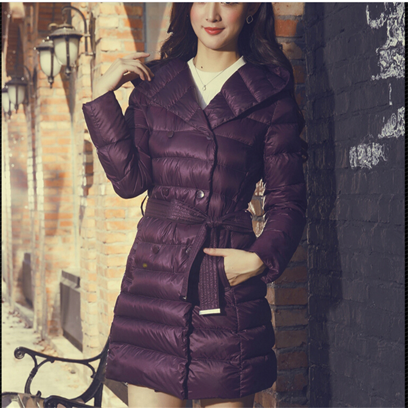 2017 New Fashion 90% Duck Down Winter Jacket Women Brand Long Sleeve Hooded Long Plus Size Warm Coat Casual With Sashes CC283 new fashion winter solid long sleeve womens coat plus size pink short down warm jacket casual parkas for women 65238