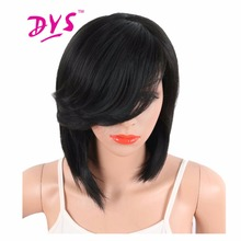 Deyngs Short Straight Συνθετική πλευρά που χωρίζει Bob Περούκες με Bangs Για Μαύρες Γυναίκες Βραζιλιάνα Hairstyle Φυσικά Θερμότητας Ανθεκτικά στα μαλλιά