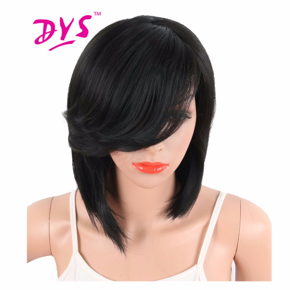 Deyngs Short Straight Synthetic Side Parting Bob Wigs With Bangs For Black Women Brazilian Hairstyle Natural Heat Resistant Hair