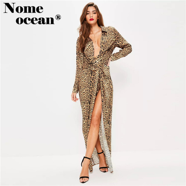 1cac76bff3fe7 Nude Leopard Print Wrap Front Maxi Dress Sexy Hollow Out High Slit Long  Brand Dress 2018