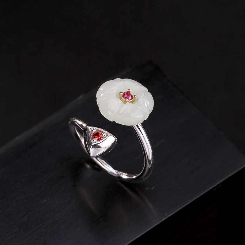 2018 เงินแท้ S925 เงินฝังหยกหยกธรรมชาติ Hetian หยกสีขาว lotus lady high - end แหวนเปิดแหวนขายส่ง