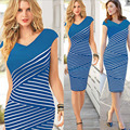 Female Summer Dress Women Stripe Dinner Dress Personality Fashion Mid-long V-neck Noble Ladies Pencil Large Size Slim