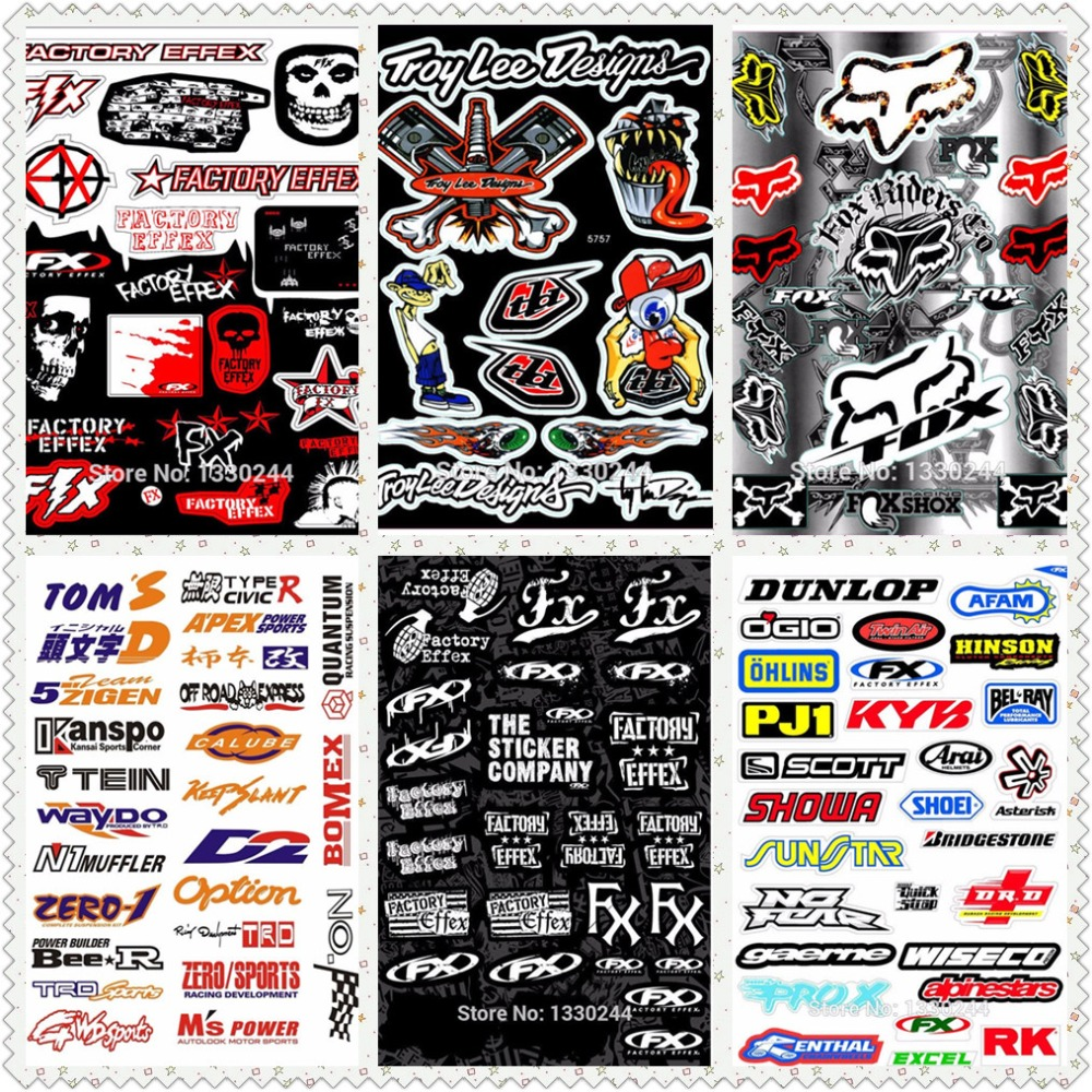 A4 Size Fox Head Skull Glossy Film Stickers For Motorcycle BIKE CAR UNIT SCOOTER FUNNY DECALS Waterproof PVC Whole Set