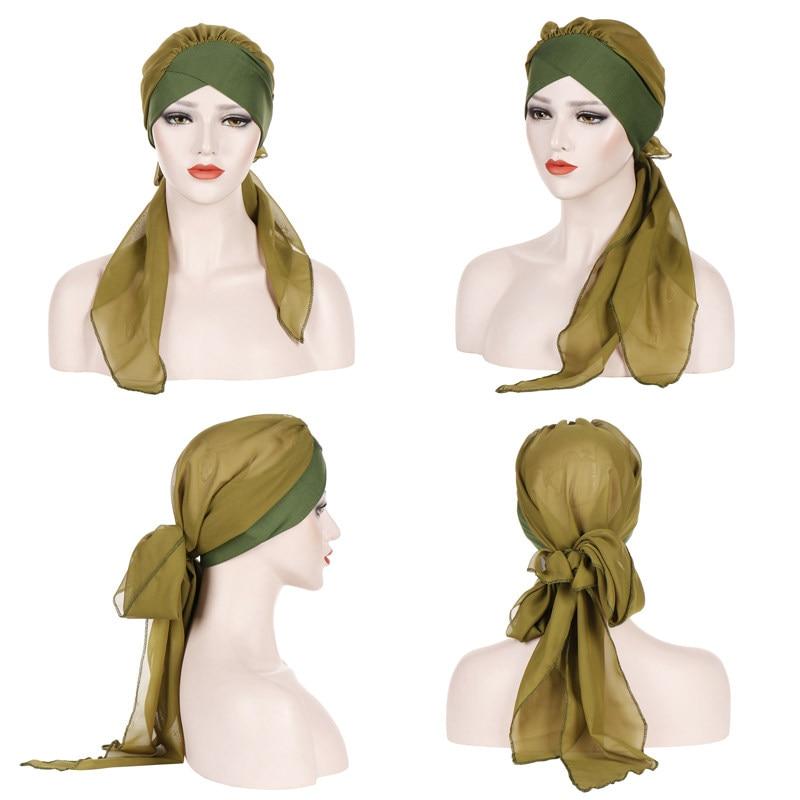 Lady Muslim Silk Hijab Turban Cap Fashion Chiffon Long Tail Wrap Bonnet Elastic Islamic Femme Musulman Plain Color Headscarf Hat