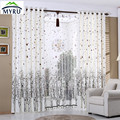 Snow tree curtains semi shade cloth curtains decorative voile curtians for bedroom and living room