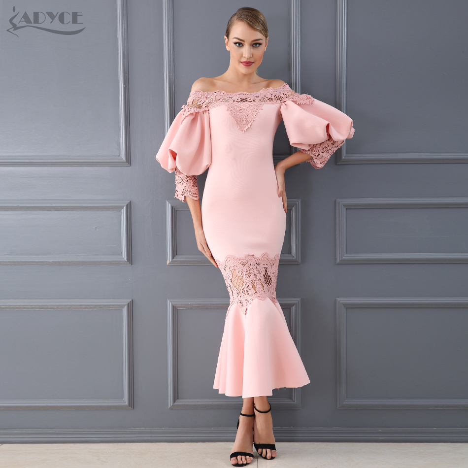 Adyce Celebrity Evening Party Dress Women Vestido 2019 New Summer Sexy Flare Sleeve Lace Hollow Out