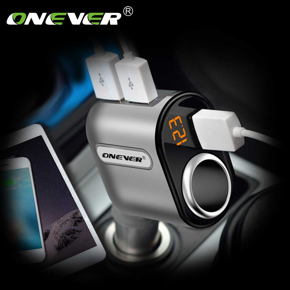 Onever 3 Ports USB Car Charger Car Cigarette Lighter Socket Splitter 5V 3.1A 12V-24V Max 80W Power Adapter with Voltage Display